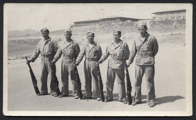 1940 Code Talkers. (NAU.PH.413.1223. Phillip Johnston Collection. Spec.  Collections & Archives, Cline Library, Northern AZ Univ.)